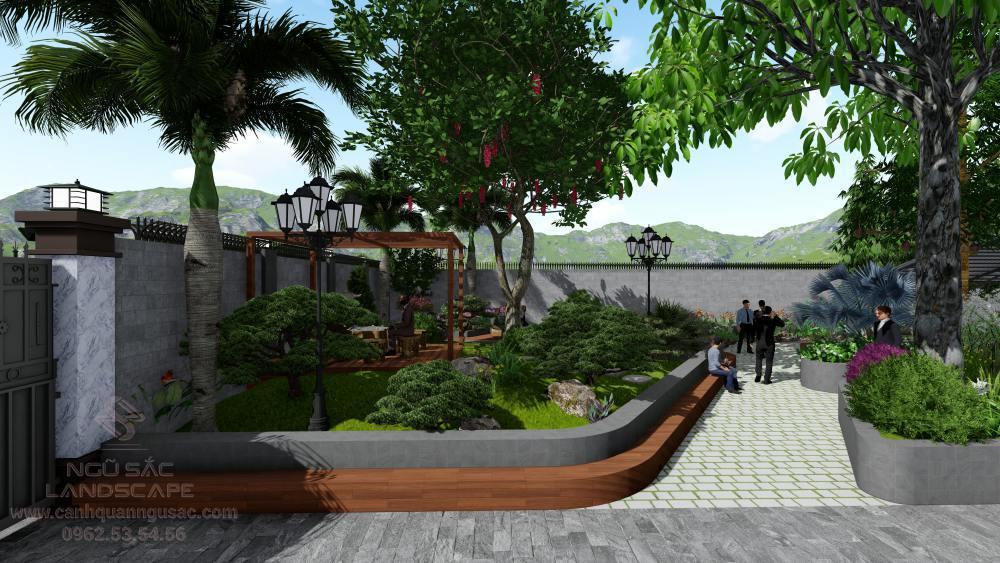 Thiết kế sân vườn cho khu vực mặt tiền công ty