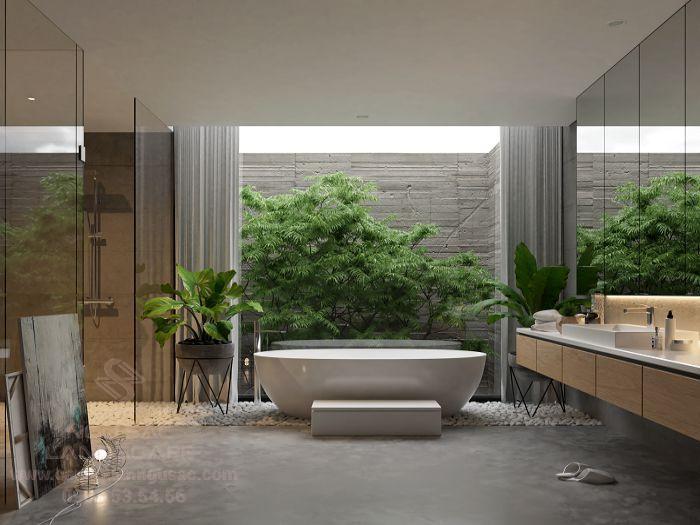 Tiểu cảnh giếng trời đẹp tại nhà tắm