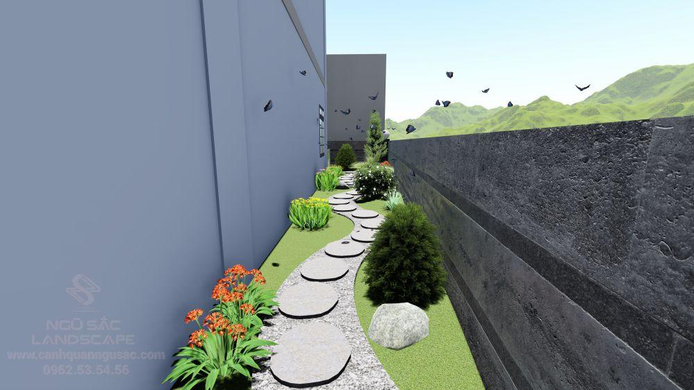 Lối đi sân vườn phía sau nhà