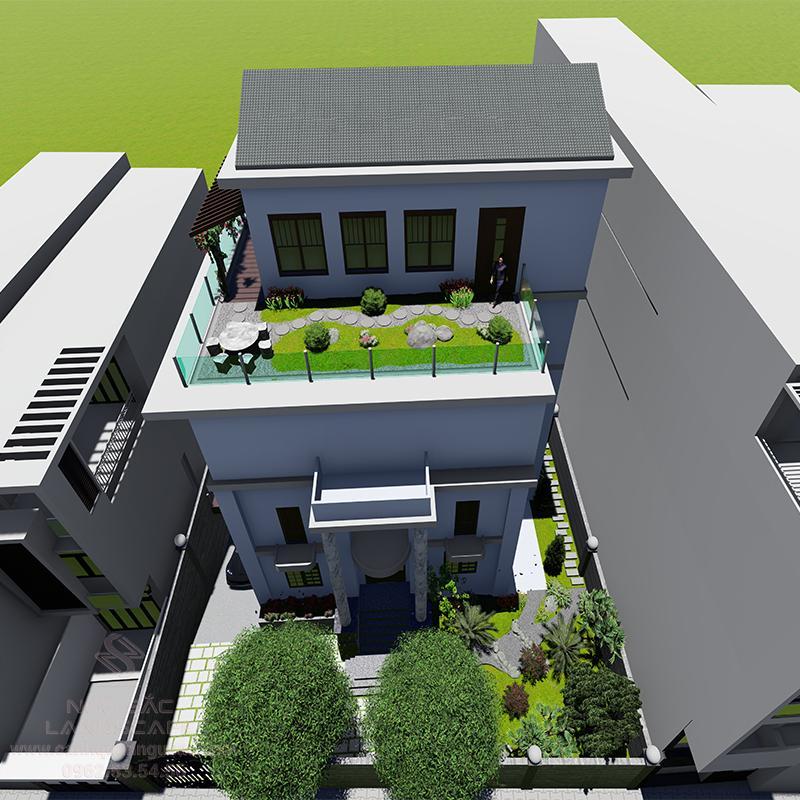 Phối Cảnh 3D Sân Vườn Ban Công Nhà Chị Thanh Quận 2