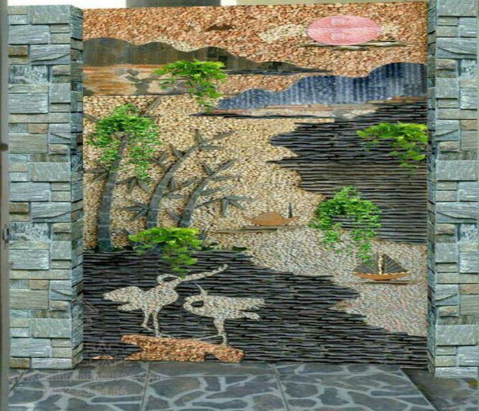 Mẫu tranh đá ốp tường đẹp ở cổng nhà
