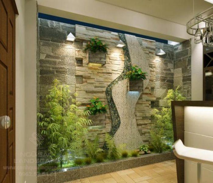 Tranh đá ốp tường khô với cây cảnh trang trí