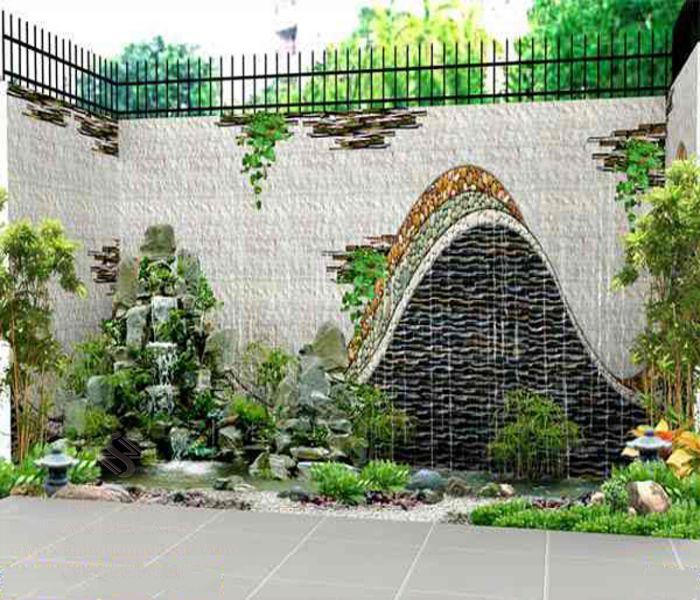 Thiết kế tường đá ở sân vườn