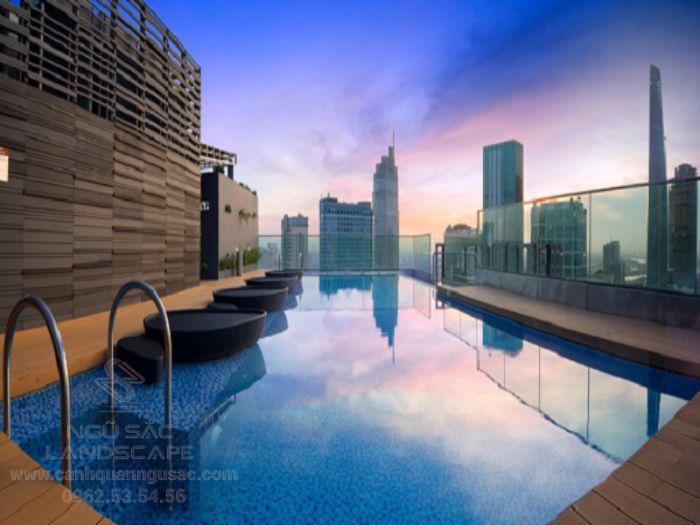 Thiết kế hồ bơi cho sân thượng ấn tượng