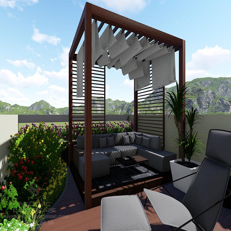 Phối Cảnh 3D Sân Vườn Tầng Thượng Nhà Phố Chị Loan
