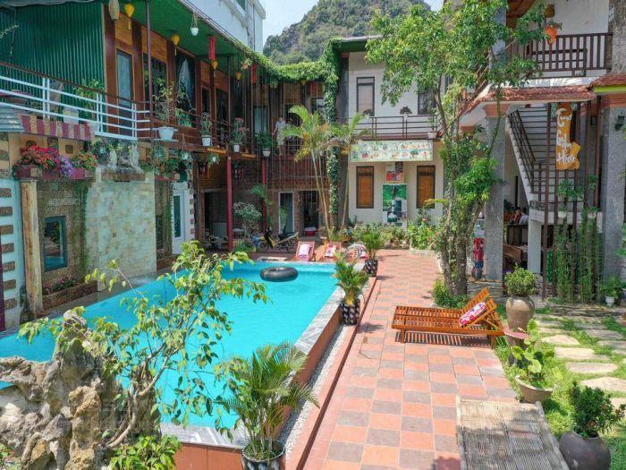 Thiết kế sân vườn có hồ bơi ở homestay