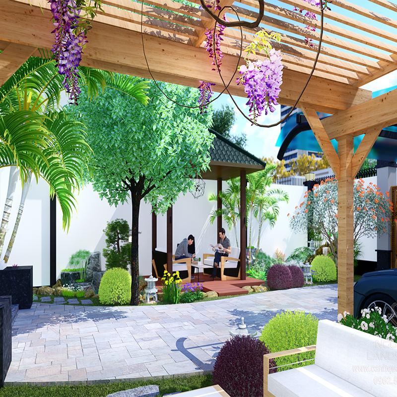 Phối Cảnh 3D Sân Vườn Nhà Phố Cho Chị Yến Bình Phước