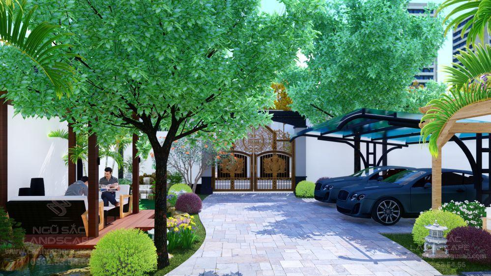 Khu trước của sân vườn nhà phố