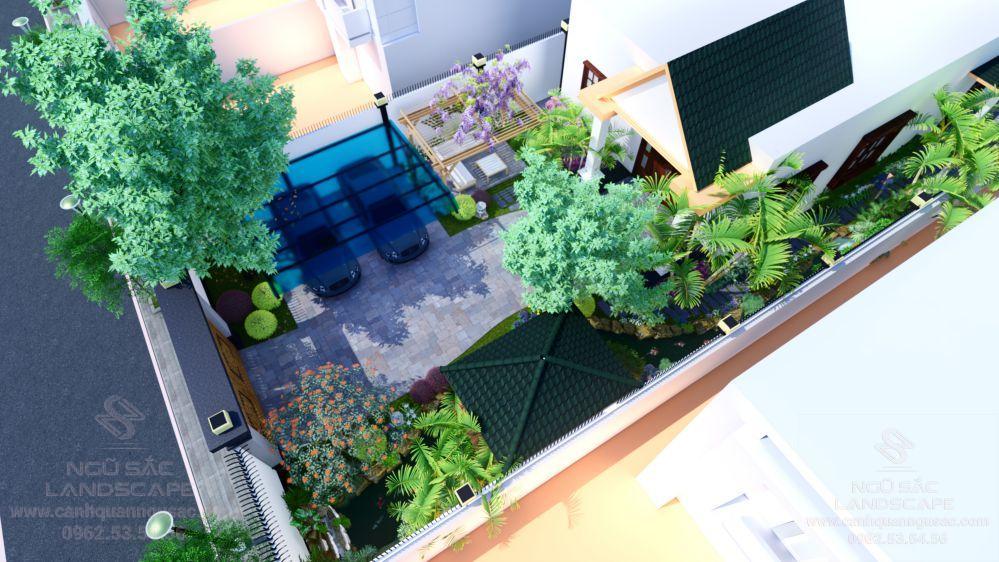 Tổng quan thiết kế sân vườn từ trên cao