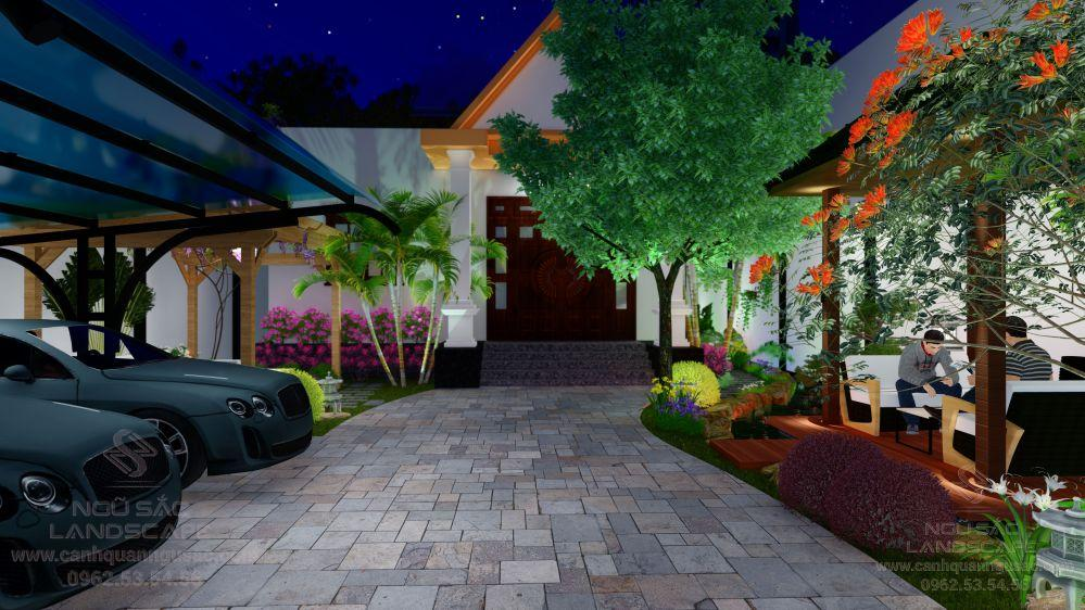 Thiết kế sân vườn vào buổi tối