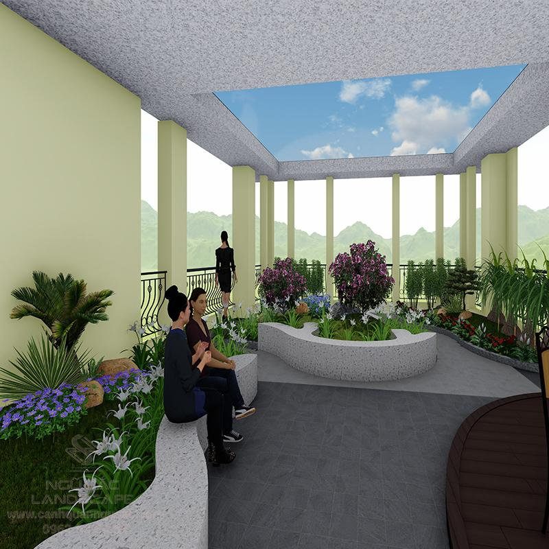 Mẫu Phối 3D Sân Vườn Tầng Thượng Hiện Đại Cho Nhà Chị Thư Quận 3