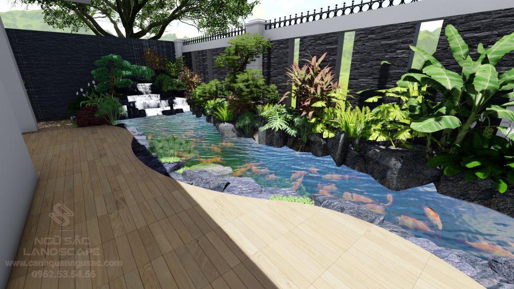 Thiết kế hồ cá Koi và thác nước phong thuỷ