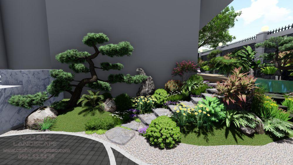 Lối đi sân vườn được phối cây cảnh sinh động