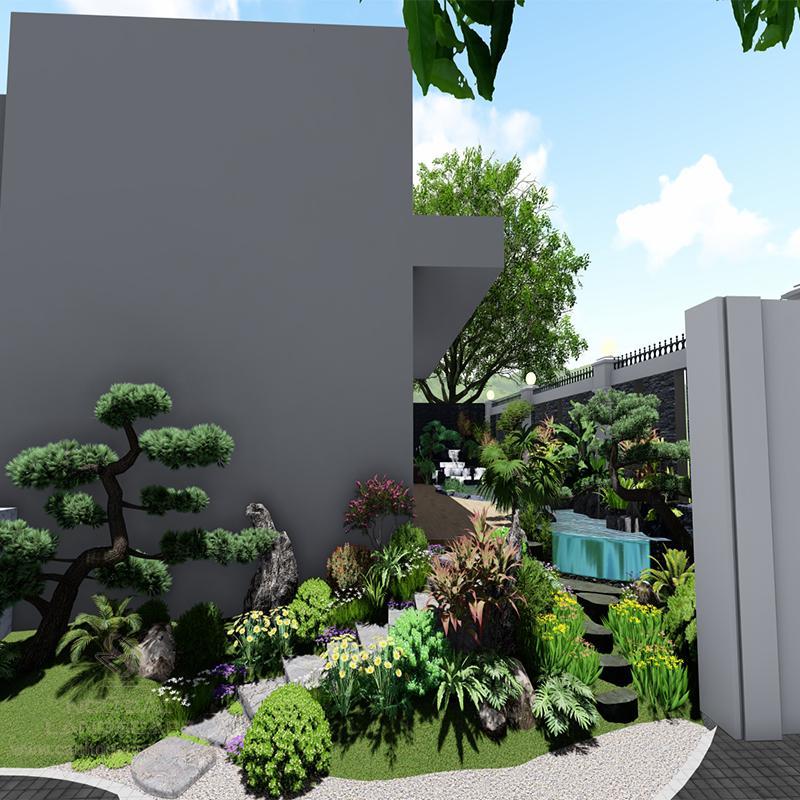 Phối Cảnh 3D Sân Vườn Biệt Thự Phong Cách Nhật Nhà Anh Nguyên Quận 3