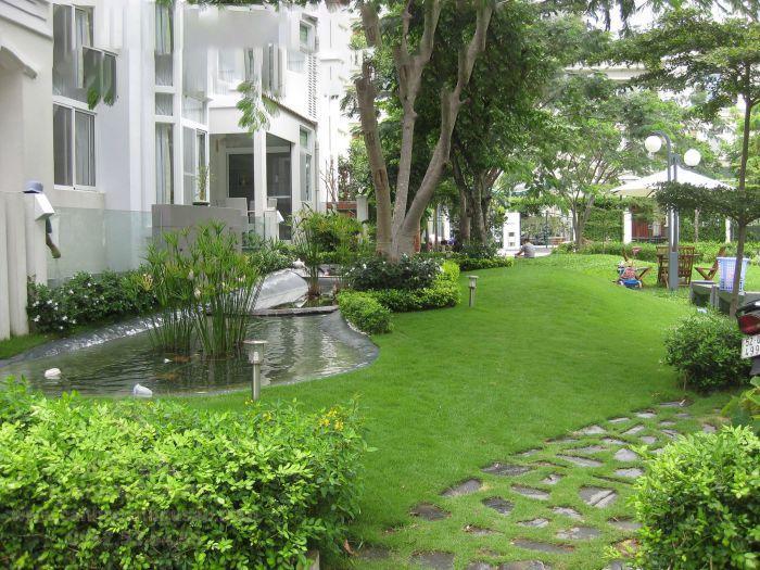 Thảm cỏ ở sân vườn biệt thự đẹp