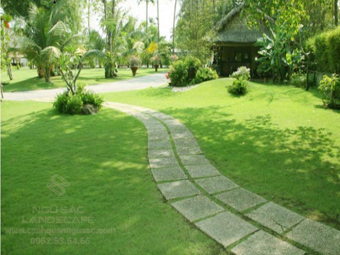 Thiết kế lối đi sân vườn kết hợp với thảm cỏ