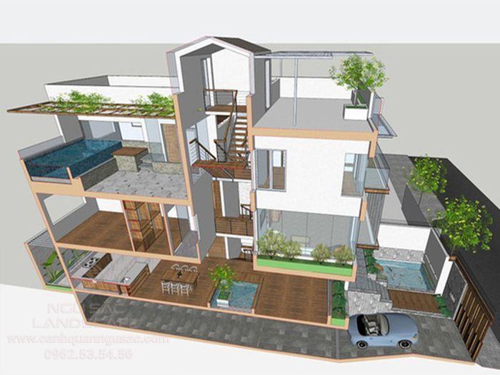 Thiết kế nhà lệch tầng 100m2 có sân vườn