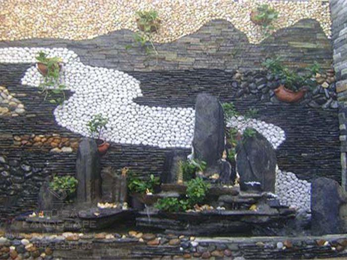 Mẫu tranh đá tường kết hợp với hòn non bộ