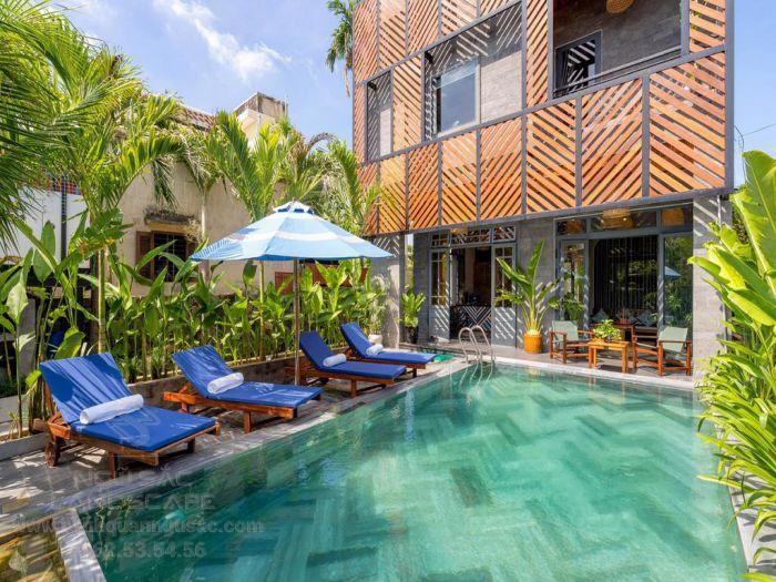 Mẫu vườn nhiệt đới với hồ bơi sang trọng